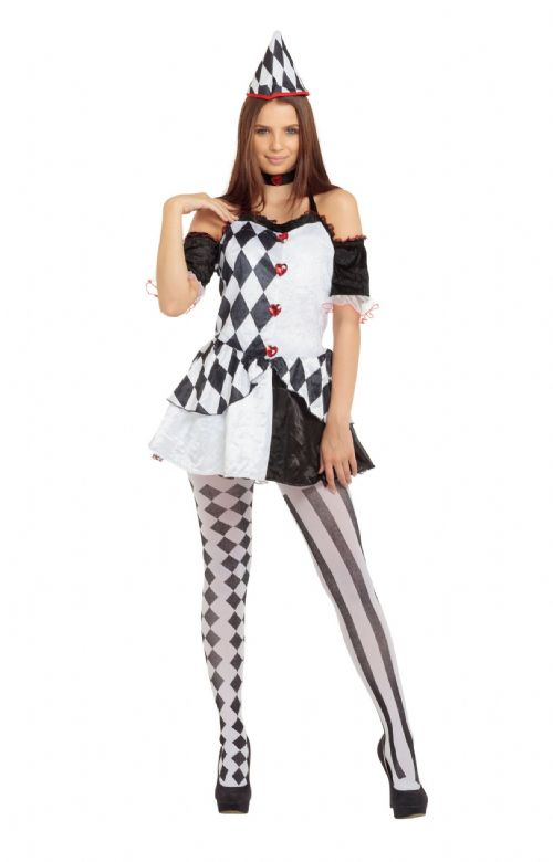 Ladies Harlequin Female Costume Medieval jester Clown Fancy Dress Outfit